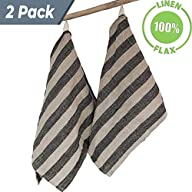 Huckaback Washed Linen Kitchen Towels - 100% Linen Flax 13x29.5-inch (Set of 2) - Flour Sack Towels - Hand Cloths for Bathroom Thick Striped Black Natural Fiber Stonewashed Highly Absorbent Tea Towels 2-pack