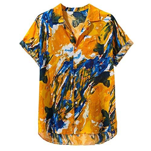 Exteren Men's Casual Button Down Shirts Hawaiian Short Sleeves Printed Shirts Aloha Beach Summer Blouse