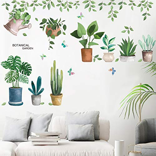 Green Potted Plant Wall Decal, MOTASOM Removable PVC Bonsai Wall Stickers, Creative Cactus Mural Decoration for Decor Girls Boys Kids Nursery Baby Home Living Room Bedroom Kitchen (39 x 28 in)