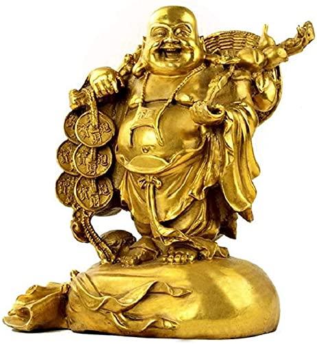 JJDSN Figura di Buddha Che Ride Ottone Sculture buddiste Ufficio Decorazioni per la casa Regali per ricchezza Successo Inaugurazione della casa, Statue di Buddha Fengshui Cinesi