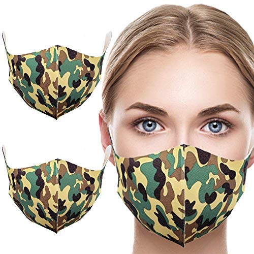 MASKGUARD Kpop Fashion Cloth Face Mask - Reusable Mouth Cover Anti Dust, Great for Outdoors, Travel, Airplanes, Sun Protection, Home and Beauty (2 PCS CAMO GREEN)