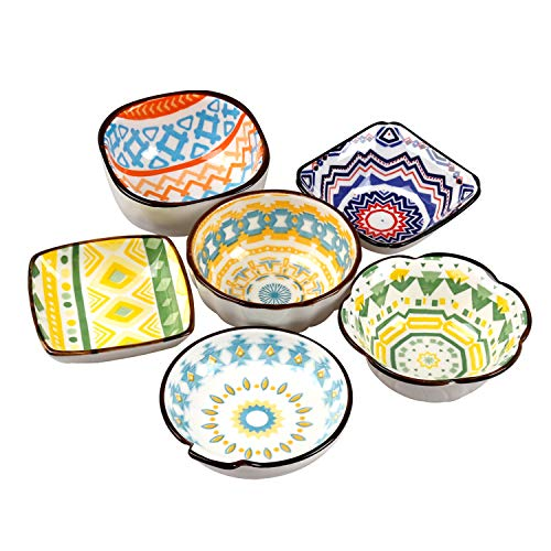 Bohemian Style Dipping Bowls for Soy Sauces, Salsa Dressings, Assorted Patterns and Multi-color, 6 Packs