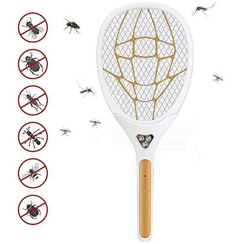 TLYS Elektrische Mücken, Klatsche Elektrische Fliegenklatsche Mückenschutz, USB Wiederaufladbar, Für Innenreisen Im Freien Camping Camping Gartenarbeit,Gold
