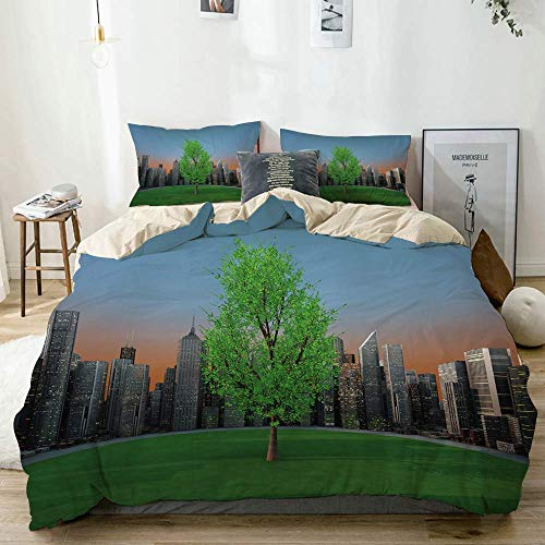 Juego de funda nórdica beige, estampado de jardín moderno con paisaje urbano de bosque, juego de cama decorativo de 3 piezas con 2 fundas de almohada de fácil cuidado, antialérgico, suave y liso