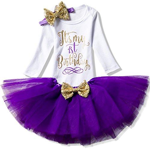 NNJXD NNJXD Mädchen Neugeborene Es ist Mein 1. Geburtstag 3 Stück Outfits Strampler + Rock + Stirnband Größe (1) 1 Jahre Lila 1