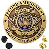 "Second Amendment Collectible Pin That Measure 1 1/2"" x 1 1/2"" Round Double Pin Attachment On The Back - 2 Rubber Clutches & 2 Gold Metal Clutches All Metal - 3-D Raised Textured Graphics - Dark Antique Gold Finish Heavy Duty Pins Made To Last! You Ha..."