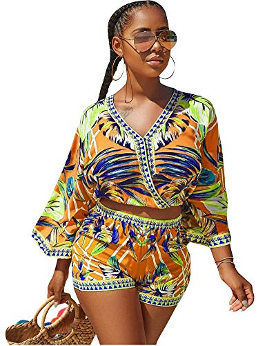 Women's 2 Piece Outfit Summer African Print V Neck Crop Tops with Shorts Set Short Jumpsuits Beach Romper Yellow S