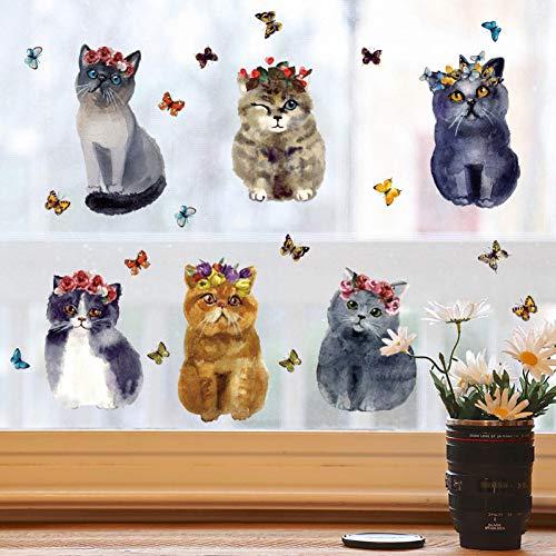 Dalao muursticker, katten, bloemen, realistisch met stickers in hartvorm, kast, gang, veranda, glazen deur en koelvenster