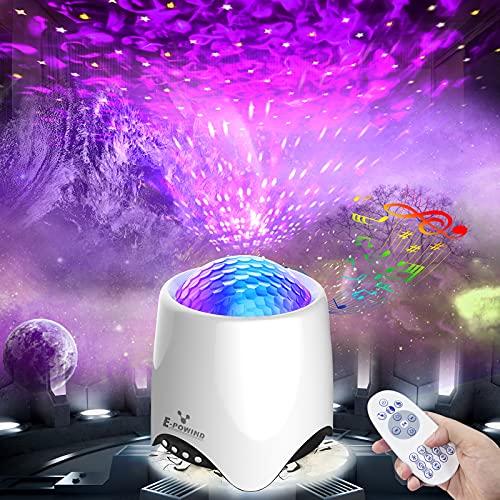 LED Sternenhimmel Projektor, E-POWIND Sternenlicht Projektor Lampe, Sternenprojektor mit White Noise/8 Szenenmodi/Fernbedienung/Bluetooth 5.0/Timer, für Kinder Erwachsene Zimmer Dekoration Geschenk