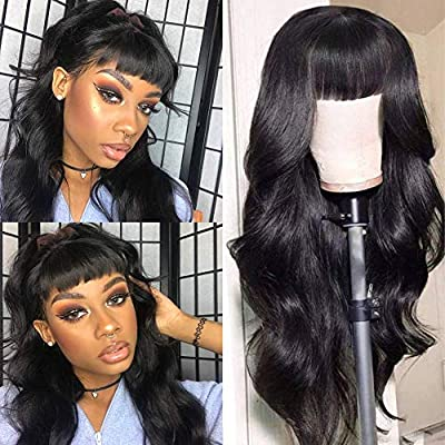 CanaryFly Brazilian Virgin Human Hair Body Wave Wigs With Bangs None Lace Front Wigs Glueless Machine Made Wigs For Black Women 150% Density Natural Color