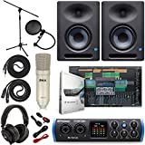 "PreSonus Studio 24c 2x2 USB Type-C Audio/MIDI Interface with Eris E5 XT Pair 2-Way Studio Monitors with EBM Wave Guide Design and 1/4"" Instrument Cable"