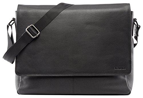 LEABAGS Oxford Umhängetasche Leder Laptoptasche 15 Zoll aus echtem Büffel-Leder im Vintage Look, (LxBxH): ca. 38x10x31 cm - OnyxBlack