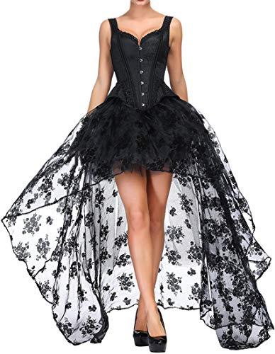 EUDOLAH Damen Corsage 3-Teilige Gotik Corsagenkleid Bustier mit Rock Steampunk Burlesque Taille...