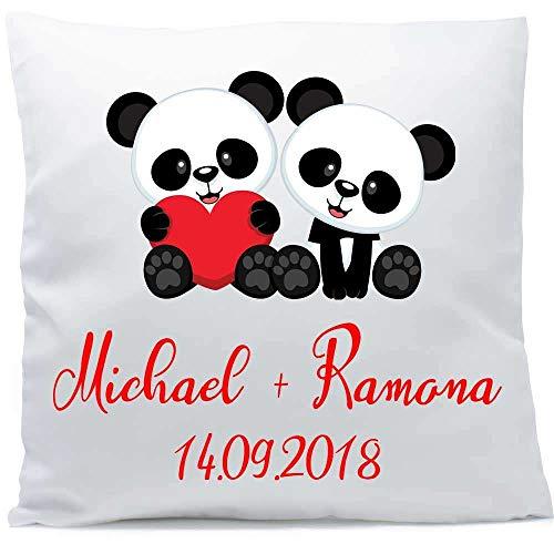 Kissen mit Namen Hochzeit Pandas 40x40 cm inkl. Füllung Kuschelkissen Liebe Jahrestag, Kissen Farbe:Vorderseite weiß flauschig/RS weiß flauschig
