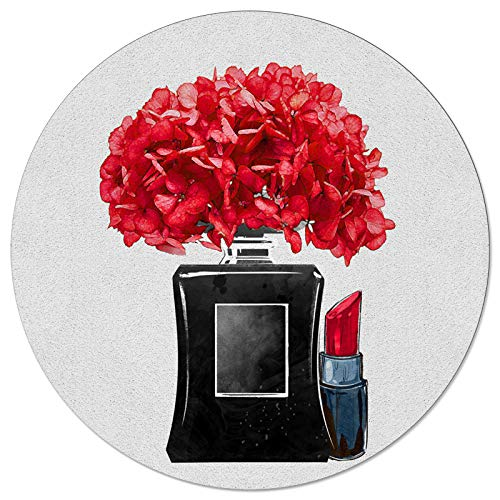 Round Area Rugs Red Flower Soft Indoors/Living Room/Bedroom/Children Playroom/Kitchen Mats Funny Art Black Vase Lipstick Non Slip Rubber Backing Yoga Carpets 5 ft Diameter