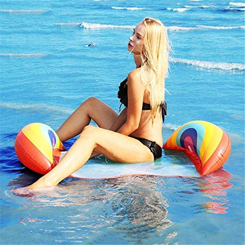 Inflatable swimming seat Pool Inflatable Summer Inflatable Floating Row Chair Swimming Pool Air Mattress Beach Foldable Swimming Pool Fruit Chair Hammock Water Sports Mattress best gift ( Color : C )
