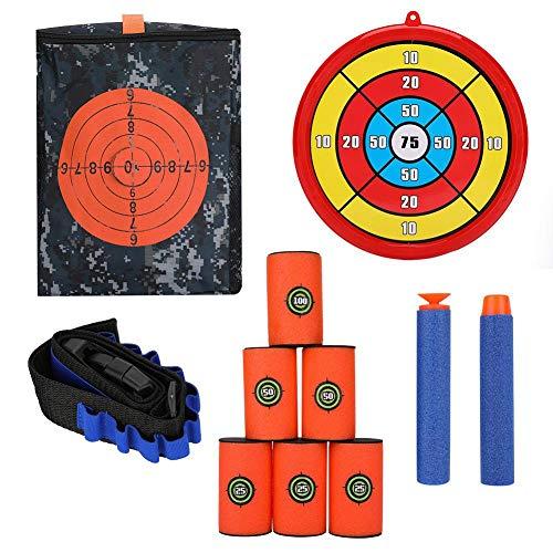 Borsa per Trasporto destinazione Target Shooting Custodia con Bullet Band, Bullet Clip 6pcs Schiuma Target Cintura 60pz Soft Bullets, Round Target, 50pz Sucker Bullets (Combo 2)