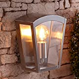 Biard Outdoor Stainless Steel Modern Silver Lantern Wall Light - IP44 Rated Security Light Ideal for Porch, Driveway, Pathways, Patio & Garden - Energy Rating A++ - 60W E27 - Fixing Kit Included
