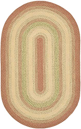 Safavieh Braided Collection BRD303A Hand-woven Reversible Area Rug, 5' x 8' Oval, Rust/Multi