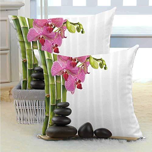 N\A SPA Decor Funda de Almohada Abrazo Funda de Almohada Cojín Almohada Hermosa orquídea Rosa con bambúes y Piedras Calientes Negras Imagen de Masaje con Cremallera Oculta Verde Fucsia