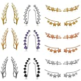 12 Pairs Sliver Gold Ear Climber -7 Crystals Ear Cuffs Climber Earrings Black Rose Glod-Chic Tiny Olive Leaf Ear Climbers Crawler Cuff Trendy Earrings Gift for Women Girls Favors (12 Pairs)