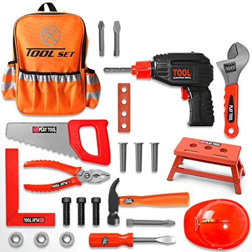 Oeasy Werkzeugkoffer Kinder, 25 Stücke Rollenspiel Werkzeugkasten Werkzeug Spielzeug Spielwerkzeugen Lernspielzeug für Kinder Kleinkind Jungen Mädchen 3 Jahre alt +