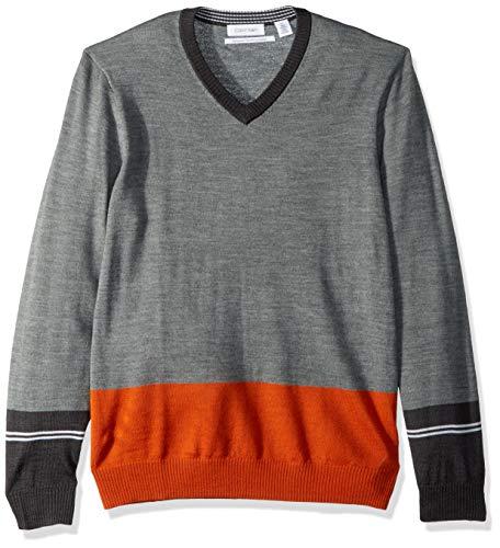 Calvin Klein Men's Merino Sweater V-Neck Stripes, Granita Combo, X-Large