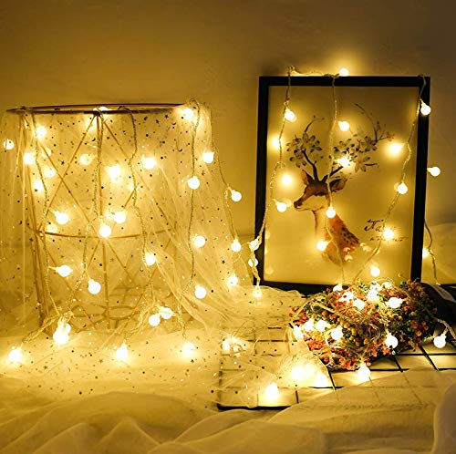 GreenClick Battery Powered Fairy Lights, 40 LED Globe String Lights with Timer, 8 Modes, Waterproof Decorative Light for Indoor Outdoor Valentine Christmas Party Wedding Garden,14ft Warm White