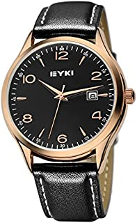 EYKI Fashion Classic Lover's Watch Table Quartz Leather Watchband EET8729 Men Male Golden-Black