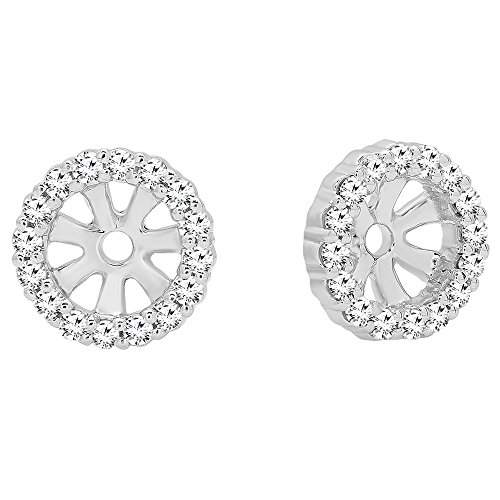 0.16 Carat (ctw) Round Diamond Ladies Halo Removable Jackets for Stud earrings, 14K White Gold