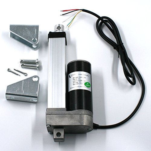 """Zoom Industrial - Heavy Duty Linear Actuator 6"""" Inch Stroke 330 Pound Max Lift DC 12v/24v - Position Feedback - Weather Resistant"""