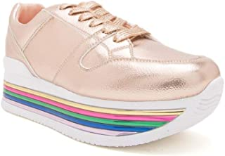 Eight-Eighteen Women's Ugly Multi Colors Lace-up Dad Trendy Padded Chunky Platform Dad Sneakers