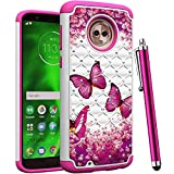 CAIYUNL for Moto G6 Case for Women Girls Bling Studded Rhinestone Dual Layer Hybrid Protective Shockproof Armor Heavy Duty Hard Plastic & TPU Cover for Motorola Moto G6 Case 2018 -Hot Pink Butterfly