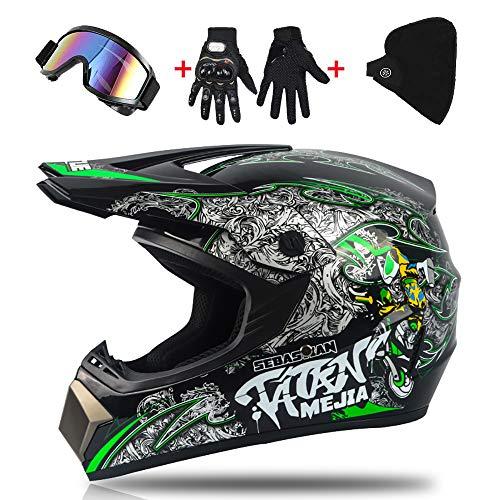 LWAJ Kinder Motocross Helm, MX Motorrad Roller ATV Helm D.O.T Zertifiziert Mountainbike Integralhelm mit Brille Offroad Handschuhe für Herren Damen