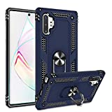 Galaxy Note 10 Plus/Note 10+ 5G Case with HD Screen Protector, Gritup 360 Degree Rotating Metal Ring Holder Kickstand Armor Bracket Cover Phone Case for Samsung Galaxy Note 10 Plus Blue