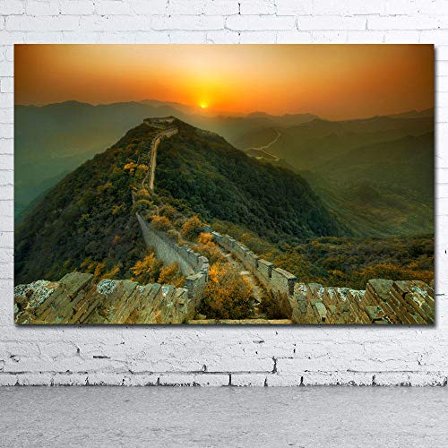 wsqyf Decorative Paintings Great Wall of China Ancient Building Picture Printed Canvas Cloth Wall Art Poster for Room Decor/60x80cm (no Frame)
