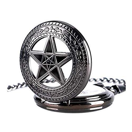 Huaib Reloj de Bolsillo Reloj, Cadena de Reloj Esqueleto Pentagram mecnico de la Mano, Reloj de Bolsillo Grande de Negro Hombres Mujeres
