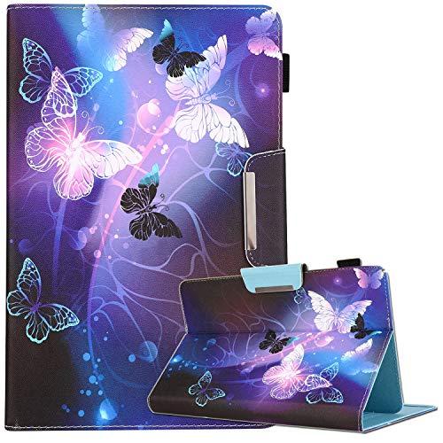 Funda universal para tablet de 9,5 a 10,5 pulgadas, de piel sintética para iPad Air, iPad de 5ª y 6ª generación, Samsung Galaxy Tab A 10.1/Tab E 9.6 y más de 9.5 a 10.5 pulgadas, PR Butterfly