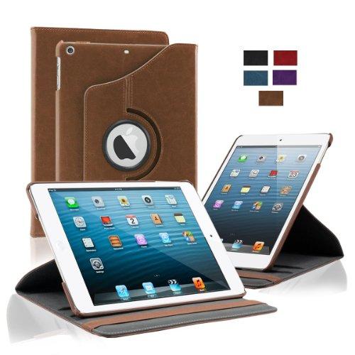 KHOMO Funda 360 para Tablet iPad 9.7 2018-2017 - Air 1 - Carcasa Café de Poli Piel con Soporte Horizontal y Vertical para Nuevo Apple iPad 9,7 - Marrón