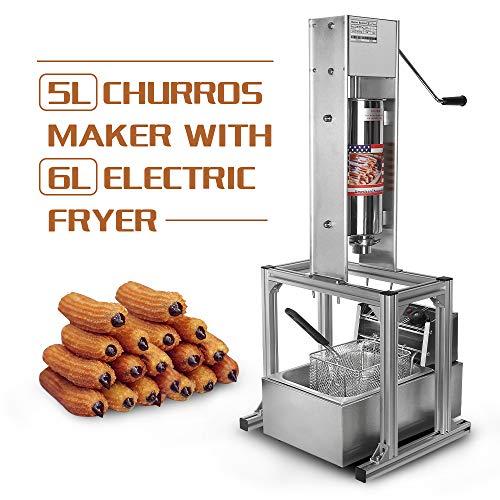 Churrera Churros - Máquina de cocción vertical (2 unidades, 5 L, con freidora eléctrica de 6 L, 5 boquillas)