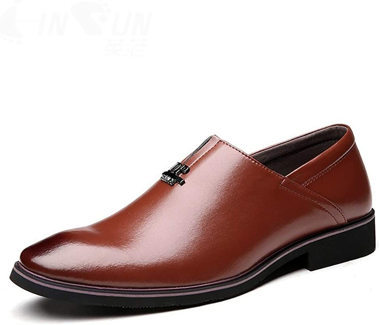 RJNSPx Leather shoes Men's leather shoes two layers of leather,gentleman business mens dress shoes (color   Brown, Size   8.5 UK)