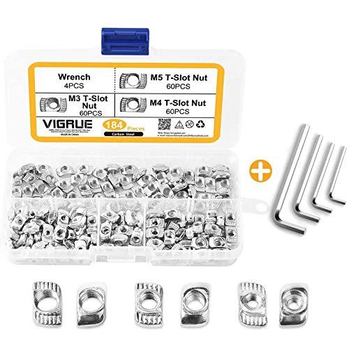 VIGRUE 184Stück T-Nut-Muttern M3 M4 M5 Nutensteine Nut Gewinde Hammermutter Hammerkopf Befestigungsmutter T Nutmuttern Sortiment Kit für 2020Typ Aluminium Profile