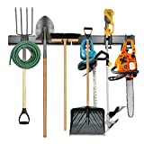 Tool Storage Rack, 8 Piece Garage Organizer, Metal, Wall mounted, Holder for Broom, Mop, Rake Shovel & Tools, By Right-Hand Storage Solution
