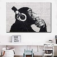 現代動物アートDJモンキーキャンバス絵画ポスターリビングルームの家の装飾のための壁のアートを印刷50x70cmフレームなし