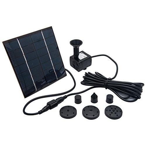 MASO Solar Teichpumpe - 7 V 1,4 W 180 l/h Solarpanelbetriebene Wasserpumpe für Garten Pool Teich Aquarium Brunnen bürstenlos Leistung der Pumpe - JT-180 (CE/ROHS/IP68) DC7 V, 140 MA