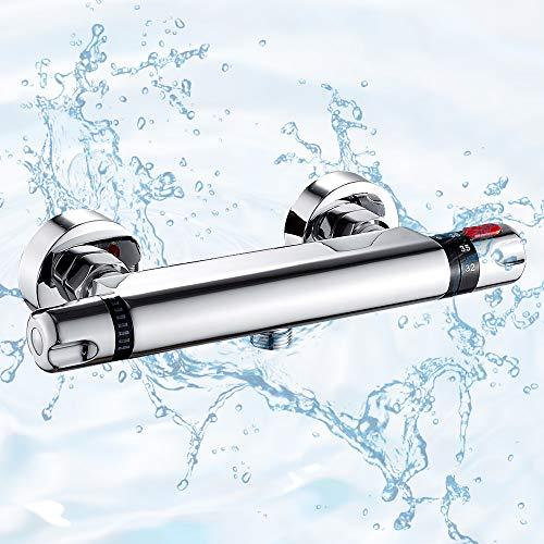 Grifo termostático de ducha con grifo termostático de latón cromado antiquemaduras, 38 °C, con protección de seguridad, plateado para cuarto de baño