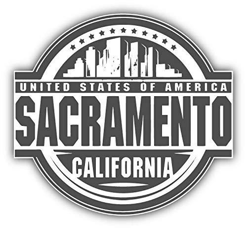 Tiukiu Sacramento City USA Label Vinyl Decal Sticker for Laptop Fridge Guitar Car Motorcycle Helmet Toolbox Luggage Cases 6 Inch In Width