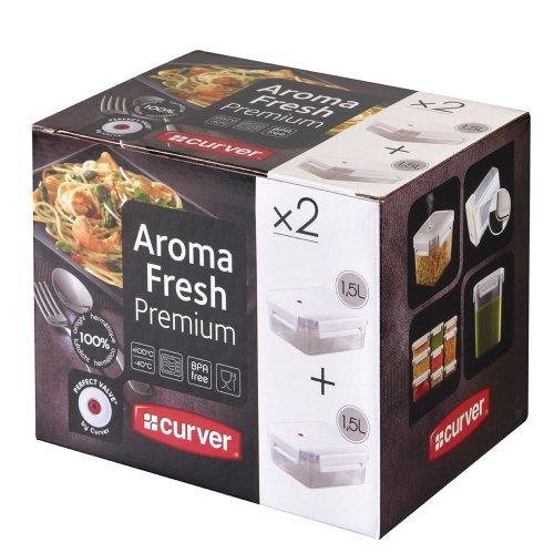 CURVER | Lot de 2 Aroma Fresh Premium rect 1.5L (00379), Blanc, Aroma Fresh Premium, 20,5x15,5x16,5 cm