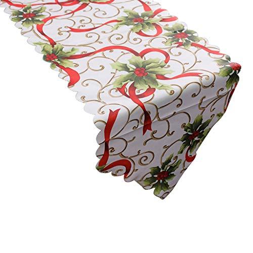 NNGUBIU - Camino de mesa con estampado navideño, diseño floral de Papá...