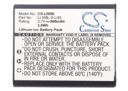 High Capacity 800mAh / 2.96Wh Replacement Battery for PENTAX Megazoom X70, Optio I-10, Optio RZ10, Optio RZ10 Black, Optio RZ10 Lime, Optio RZ10 Violet, Optio RZ10 White, Optio RZ18, Optio WG1